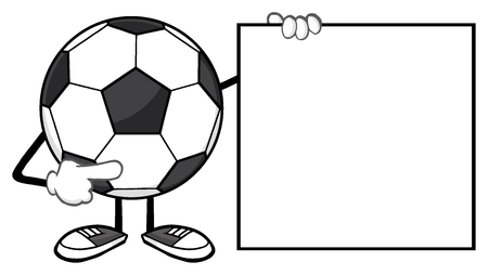 footy: Soccer Ball Faceless Cartoon Mascot Character Pointing To A Blank Sign