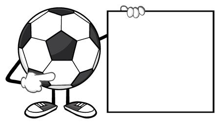futbol: Soccer Ball Faceless Cartoon Mascot Character Pointing To A Blank Sign
