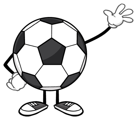 footy: Soccer Ball Faceless Cartoon Mascot Character Waving For Greeting