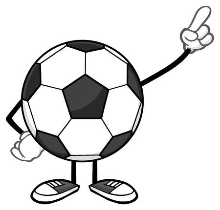 futbol: Soccer Ball Faceless Cartoon Mascot Character Pointing. Illustration Isolated On White Background Stock Photo