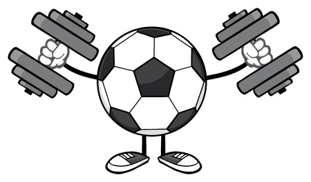 futbol soccer: Soccer Ball Faceless Cartoon Mascot Character Working Out With Dumbbells