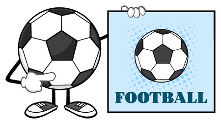 futbol soccer: Soccer Ball Faceless Cartoon Mascot Character Pointing To A Sign With Text Football