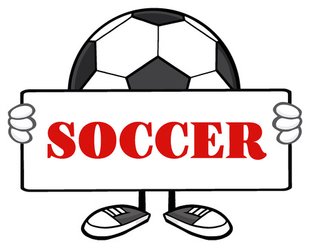 futbol: Soccer Ball Faceless Cartoon Mascot Character Holding A Sign. Illustration With Text Soccer Isolated On White Background