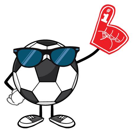 futbol: Soccer Ball Faceless Cartoon Mascot Character With Sunglasses Wearing A Foam Finger Stock Photo