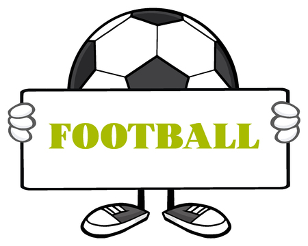 futbol soccer: Soccer Ball Faceless Cartoon Mascot Character Holding A Sign. Illustration With Text Football Isolated On White Background Stock Photo