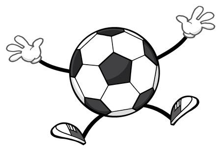 futbol soccer: Soccer Ball Faceless Cartoon Mascot Character Jumping. Illustration Isolated On White Background