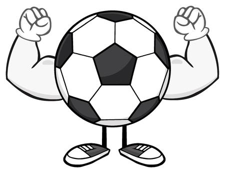 faceless: Soccer Ball Faceless Cartoon Mascot Character Flexing
