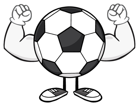 futbol: Soccer Ball Faceless Cartoon Mascot Character Flexing