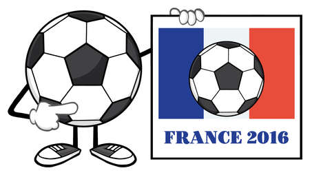 footy: Soccer Ball Faceless Cartoon Mascot Character Pointing To A Sign With France Flag And Text France 2016 Year Stock Photo