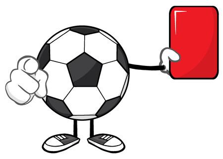 arbitros: Los �rbitros car�cter de la mascota de la historieta del bal�n de f�tbol sin rostro se�alando y mostrando tarjeta roja. Ilustraci�n sobre fondo blanco Foto de archivo