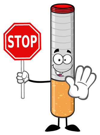 Electronic Cigarette Cartoon Mascot Character Gesturing And Holding A Stop Sign