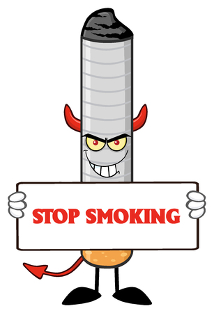 cigarette: Devil Cigarette Cartoon Mascot Character With Sinister Expression Holding A Sign. Illustration With Text Stop Smoking Isolated On White Background
