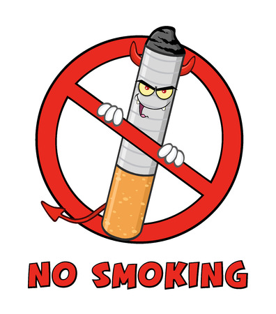cigar cartoon: Devil Cigarette Cartoon Mascot Character In A Prohibited Symbol With Text No Smoking Stock Photo