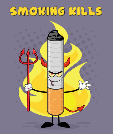 Devil Cigarette Cartoon Mascot Character Welcoming And Holding A Trident Over Flames And Purple Halftone With Welcome To Smoking Kills Text