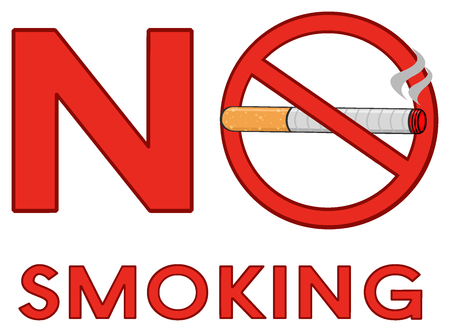 toxic product: Alphabets No Smoking With Red Sign Cigarette And Text. Illustration Isolated On White Background