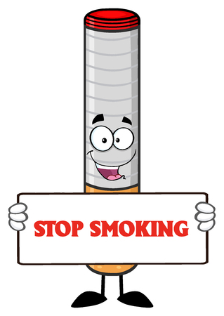 cigar cartoon: Electronic Cigarette Cartoon Mascot Character Holding A Sign. Illustration With Text Stop Smoking Isolated On White Background Stock Photo
