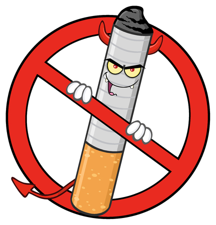 cigarette: Devil Cigarette Cartoon Mascot Character In A Red Prohibited Symbol.  Illustration Isolated On White Background Stock Photo