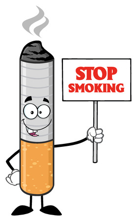ash: Cigarette Cartoon Mascot Character Holding A Sign With Text Stop Smoking