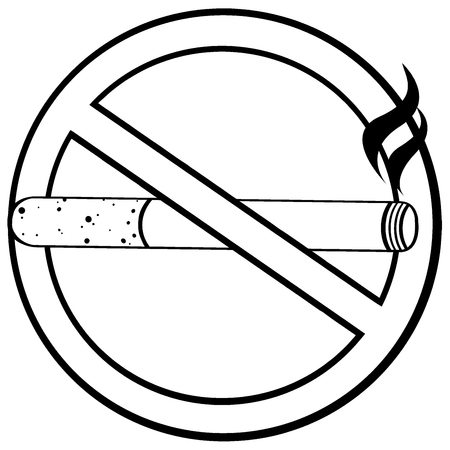 tobacco product: No Smoking Sign With Cigarette Black And White