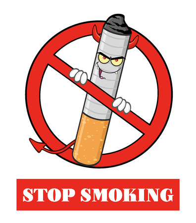cigarette: Devil Cigarette Cartoon Mascot Character In A Red Prohibited Symbol With Text Stop Smoking