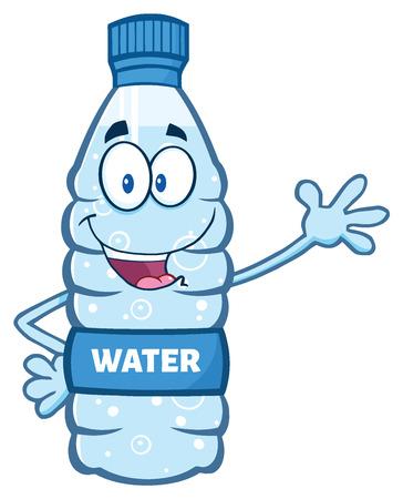 Cartoon Illustation eines Wasserplastikflasche Maskottchen-Buchstaben-Winken Winken für Gruß