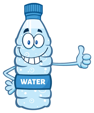 Cartoon Illustation Of A Water Plastic Bottle Mascot Character Giving A Thumb Up
