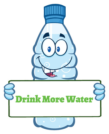 Cartoon Illustation Of A Water Plastic Bottle Cartoon Mascot Character Holding A Sign With Text Drink More Water