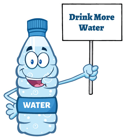 distilled: Cartoon Illustation Of A Water Plastic Bottle Mascot Character Holding Up A Sign With Text Drink More Water Stock Photo