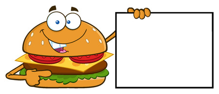 Funny Burger Cartoon Mascot Character Pointing To A Blank Sign Banner
