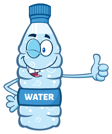 recycle plastic: Cartoon Illustation Of A Water Plastic Bottle Mascot Character Winking And Holding A Thumb Up