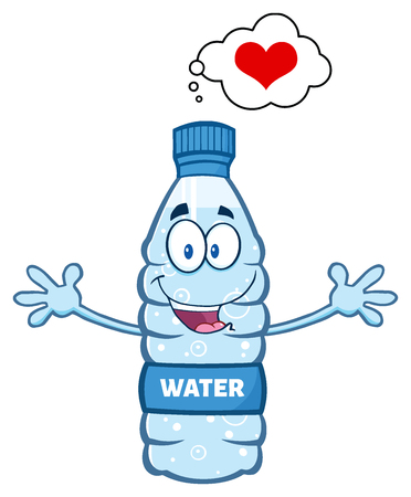 wanting: Cartoon Illustatio Of A Water Plastic Bottle Mascot Character Thinking Of Love And Wanting A Hug Stock Photo