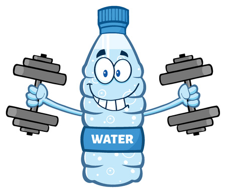 working out: Cartoon Illustation Of A Water Plastic Bottle Mascot Character Working Out With Dumbbells