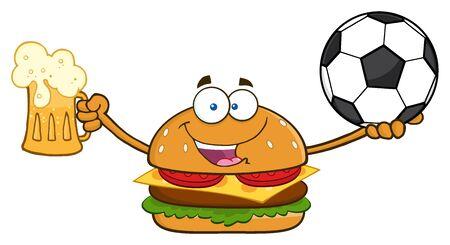Gelukkig Burger Cartoon Mascotte Karakter Met Een Bier En Voetbalbal