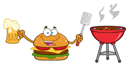 cheeseburger: Happy Burger Cartoon Mascot Character Holding A Beer And Bbq Slotted Spatula By A Grill. Stock Photo