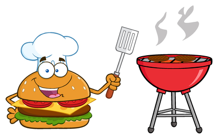 slotted: Chef Burger Cartoon Mascot Character Holding A Slotted Spatula By A Barbecue