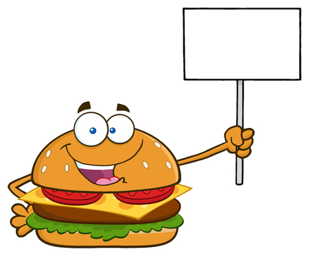 Burger Cartoon Mascot Character Holding A Blank Sign. Illustration Isolated On White Background