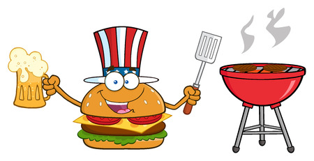 slotted: American Burger Cartoon Mascot Character Holding A Beer And Bbq Slotted Spatula By A Grill