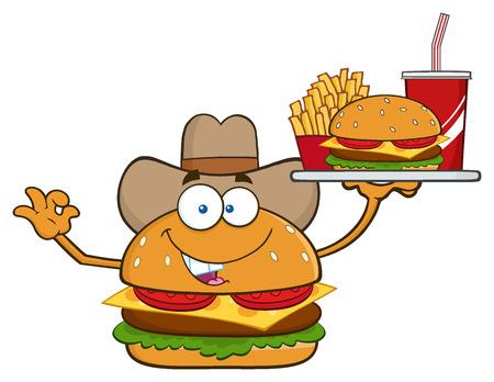 cheeseburger: Cowboy Burger Cartoon Mascot Character Holding A Platter With Burger, French Fries And A Soda