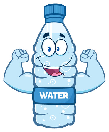 Cartoon Illustation Of A Water Plastic Bottle Cartoon Character Flexing His Muscles