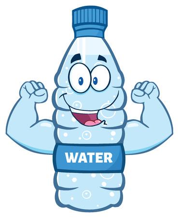 flexing: Cartoon Illustation Of A Water Plastic Bottle Cartoon Character Flexing His Muscles