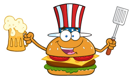 slotted: Happy American Burger Cartoon Mascot Character Holding A Beer And Bbq Slotted Spatula