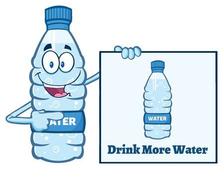 distilled: Cartoon Illustation Of A Water Plastic Bottle Mascot Character Holding And Pointing To A Banner With Text Drink More Water