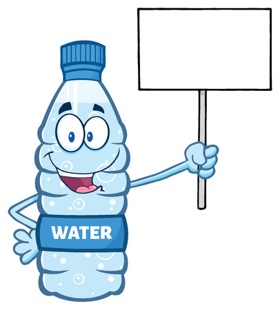 Cartoon Illustation Of A Water Plastic Bottle Mascot Character Holding Up A Blank Sign Imagens