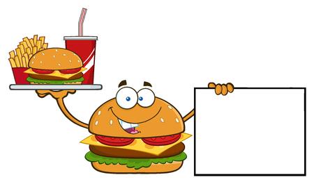 Burger Cartoon Mascot Character Holding een schotel met Hamburger, friet en soda door leeg teken Stockfoto