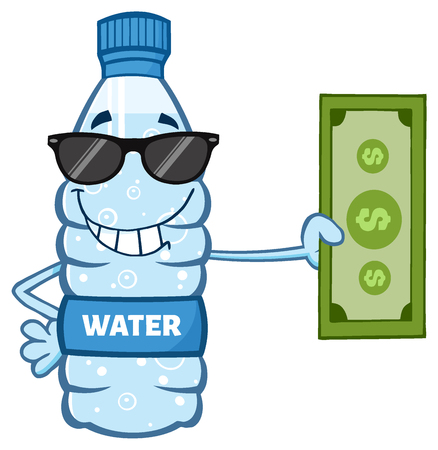Cartoon Illustation Of A Water Plastic Bottle Cartoon Mascot Character With Sunglasses Holding A Dollar Bill.