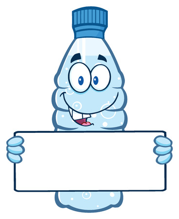 Cartoon Illustation Of A Water Plastic Bottle Cartoon Mascot Character Holding A Blank Sign. Illustration Isolated On White Background