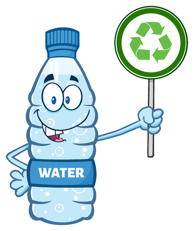 distilled: Cartoon Illustation Of A Water Plastic Bottle Mascot Character Holding Up A Recycle Sign.  Illustration Isolated On White Background Stock Photo