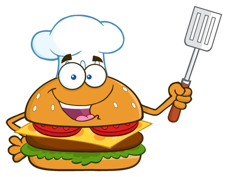 slotted: Chef Burger Cartoon Mascot Character Holding A Slotted Spatula. Illustration Isolated On White Background Stock Photo