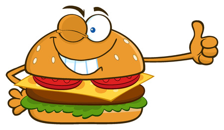 Winking Burger Cartoon Mascot Character Showing Thumbs Up. Illustration Isolated On White Background
