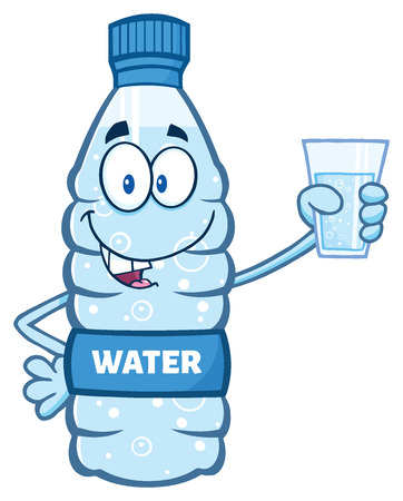 Cartoon Illustation Of A Water Plastic Bottle Mascot Character Holding A Water Glass. Illustration Isolated On White Background Foto de archivo